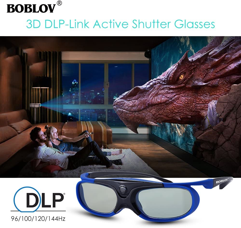DLP 3D Glasses 144Hz Rechargeable 3D Active Shutter Glasses for All DLP-Link 3D Projectors, Can't Used for TVs, Compatible with BenQ, Optoma, Dell, Acer, Viewsonic DLP Projector