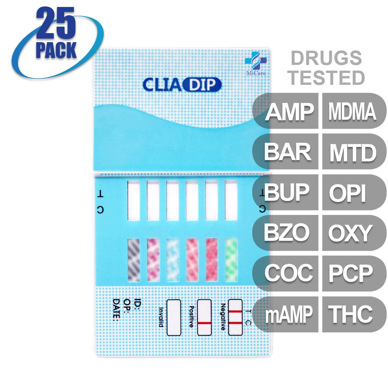 MiCare [25pk] - 12-Panel Urine Drug Test Card (AMP/BAR/BUP/BZO/COC/mAMP/MDMA/MTD/OPI/OXY/PCP/THC) #MI-WDOA-6124
