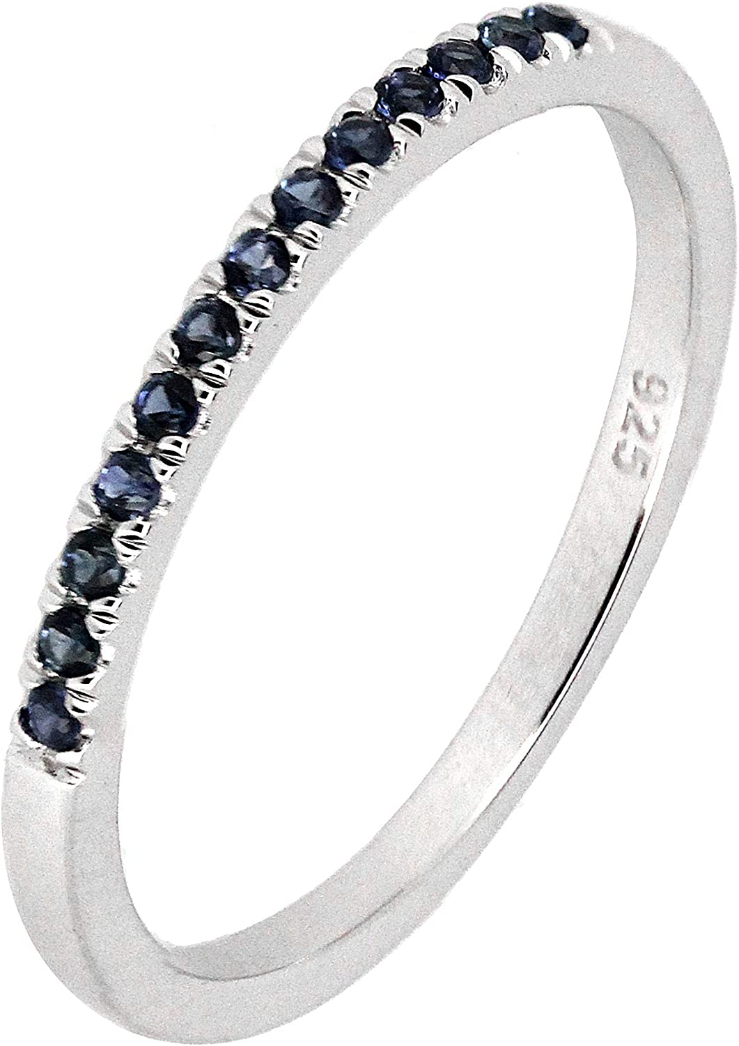 Sterling Silver Genuine Natural Ruby Emerlad Blue Sapphire or White CZ Half Eternity Band Ring