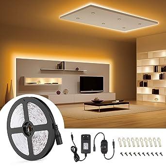 Led Strip 10M,Jayol Led Streifen Dimmbar 600 LEDs lichtband,3000K Warmweiß  Selbstklebend 2835 SMD LED Band mit 12V Netzteil für Küche,unter ...