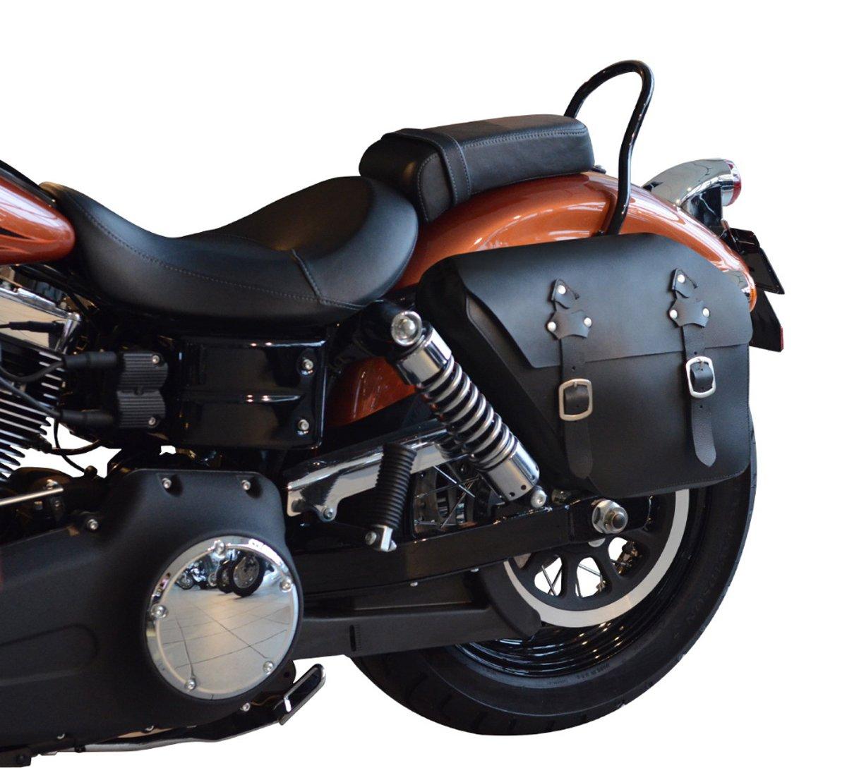 Buffalo Bag Leder Satteltasche f/ür links Harley Davidson Fat Street Bob Dyna Glide