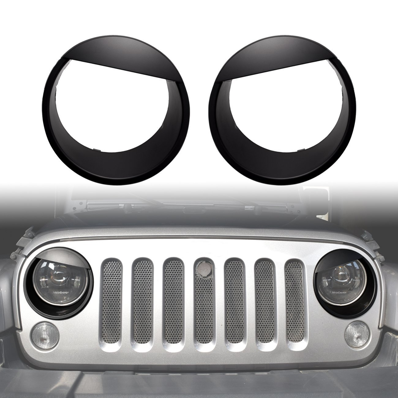 Front Lights Trim Cover Headlight Bezels Updated Version Clip-in Angry Eyes for 2007-2017 Jeep Wrangler JK JKU Unlimited Rubicon Sahara Sport Exterior Accessories Parts topfullrock