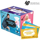 Care Touch Flushable Personal Wipes for Men and Women, 40 Individually Wrapped Wet Wipes