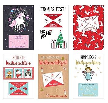 Weihnachtskarten Exklusiv.Set 6 Exklusive Premium Weihnachtskarten Mit Geldbrief