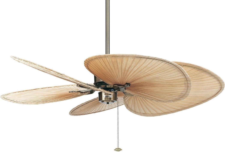 Ventilador de techo The Islander latón con alas palmera natural