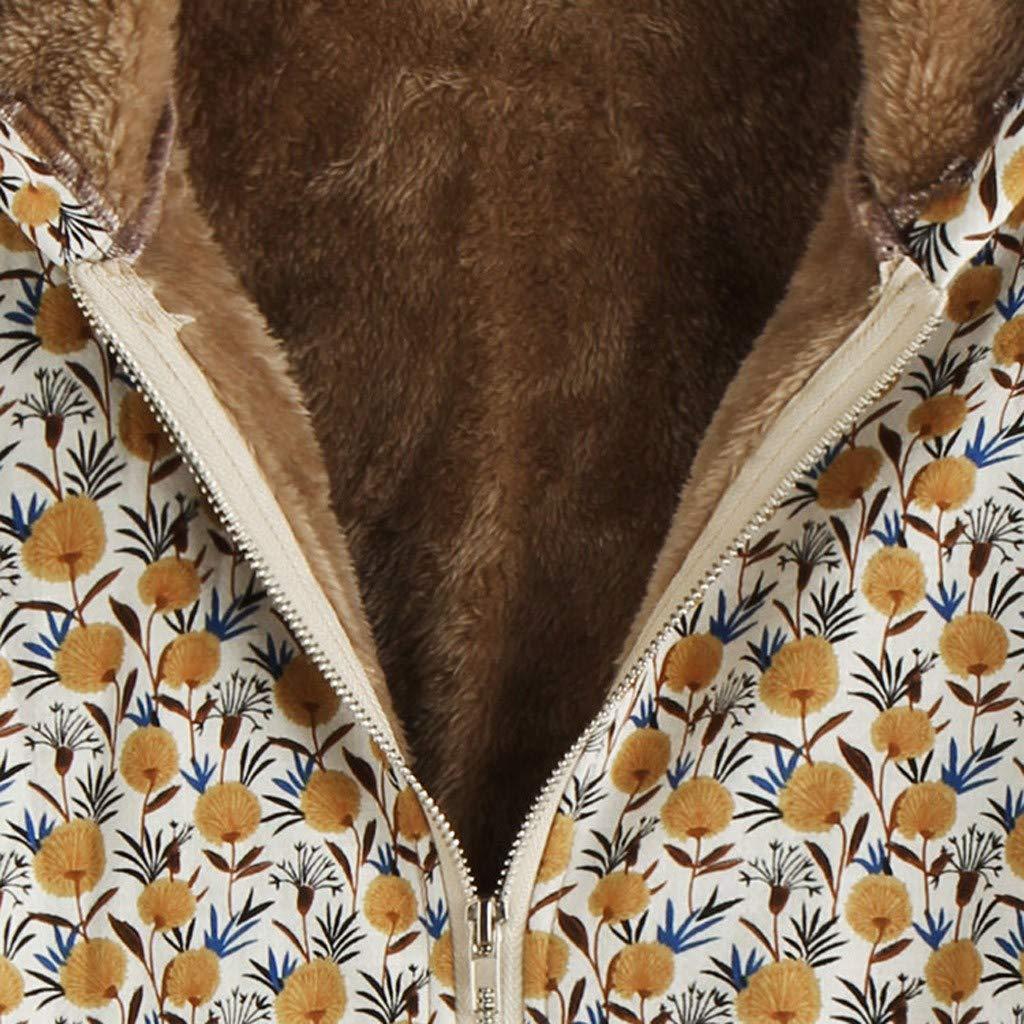 Damen Winter Drucken Langarm Baumwolle mit Kapuze Coats Damen Dicke Vintage Fleece mit Kapuze Mantel Frauen Oversize Langarm Outwear Winter Mantel Cramberdy ❀Damen Winter Warmen Hoodies Mantel