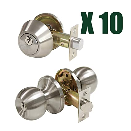 10 Pack Contractor Pack Door Knob With Double Cylinder Deadbolts Combo  Pack, Keyed Alike