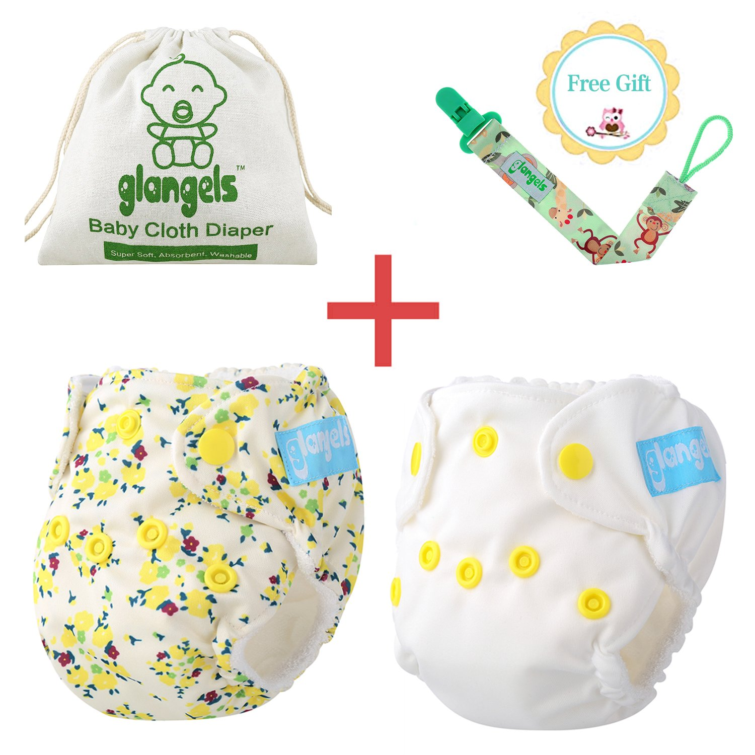7 PCs Premium Bamboo Organic Reusable Cloth Diapers 2 Bonus Wet /& Dry Diaper Bag /& Pacifier Clip Perfect Baby Shower Gift Breathable Waterproof Cover Mixed 7 PCs For Preemie Or Newborn