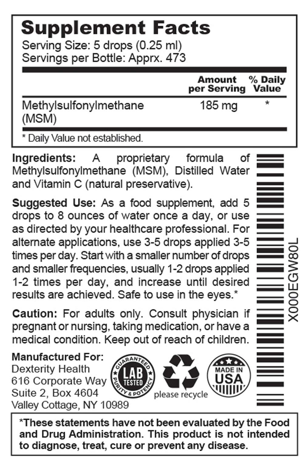 Dexterity Health Liquid MSM Drops, 3-Pack of 4 oz. Dropper-Top Bottles, 100% Sterile, Vegan, All-Natural and Non-GMO, Contains Organic MSM, Contains Vitamin C as a Natural Preservative