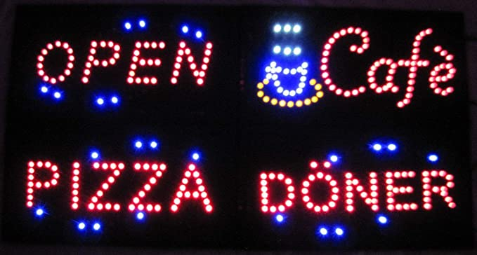 Open abierto LED Cartel Cartel Leuchtreklame Reklame Display ...