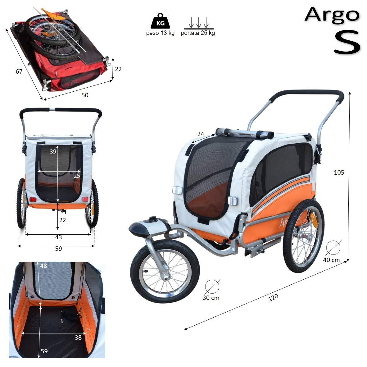 Papilioshop Argo Remolque Bici y Silla de Paseo para Perro Mascota