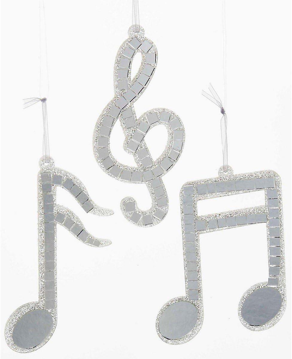 Kurt S Adler Silver Mirror Musical Note Ornament 3//Assorted D0263