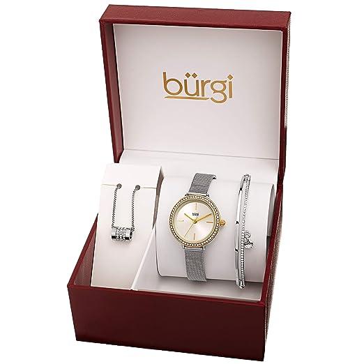 ffb7c1cdd9a6 Burgi BUR216 Women s Jewelry Gift Set – Swarovski Crystal Bezel Watch