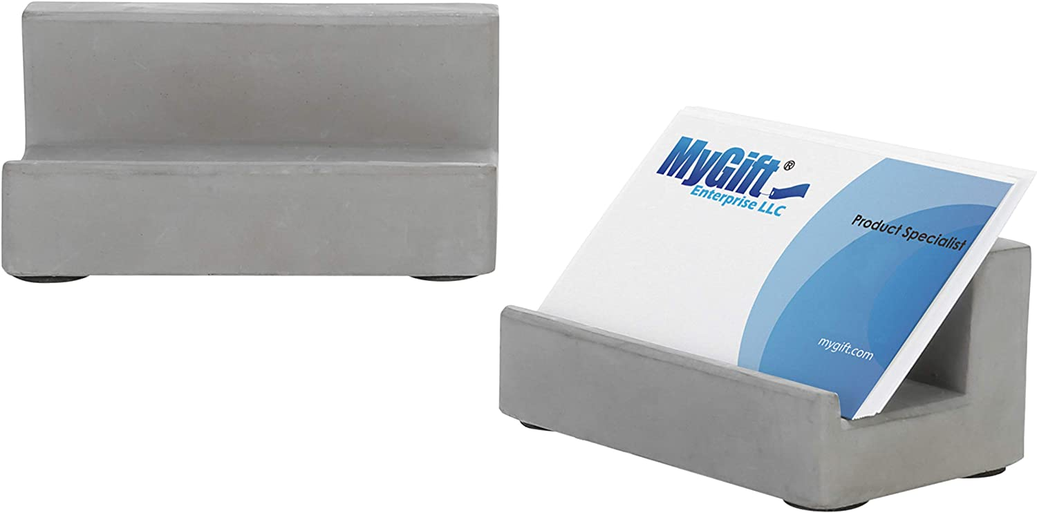 MyGift Desktop Concrete Business Card Holders, Set of 2
