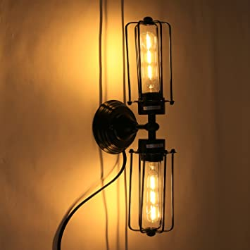 Vintage Black Antique Wrought Iron Wall Sconces Plug in Light ...