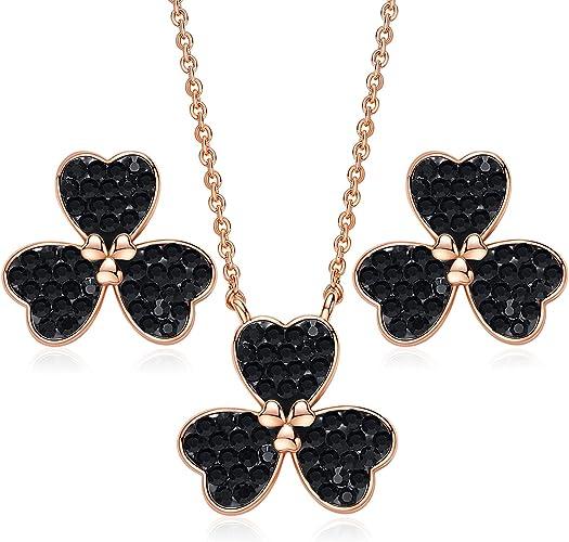 Cadena corazón de plata Swarovski ® cristal set corazón cadena pulsera estuche de regalo joyas