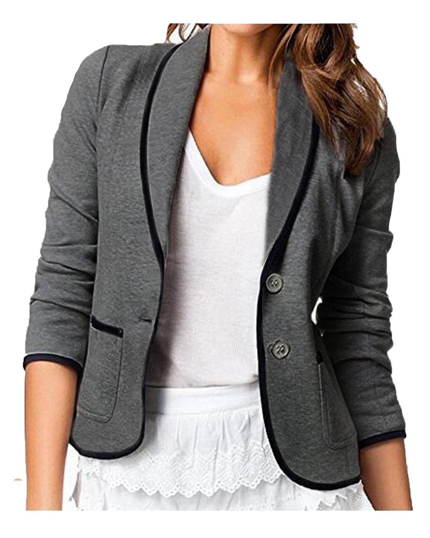 Auxo Women's Blazer Jacket Button Open Front Cardigan Half Sleeve Shawl Collar Coat Dark Grey US 14/Asian 2XL