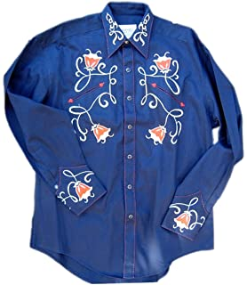2a2b7cb8 Rockmount Mens Vintage Style Art Deco Tulip Embroidery Western Snap Shirt