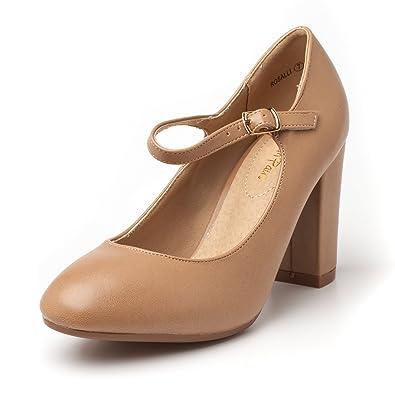 42685bff6ed DREAM PAIRS Women s ROSALLI Nude Pu High Chunky Heel Pump Shoes - 5 B(M