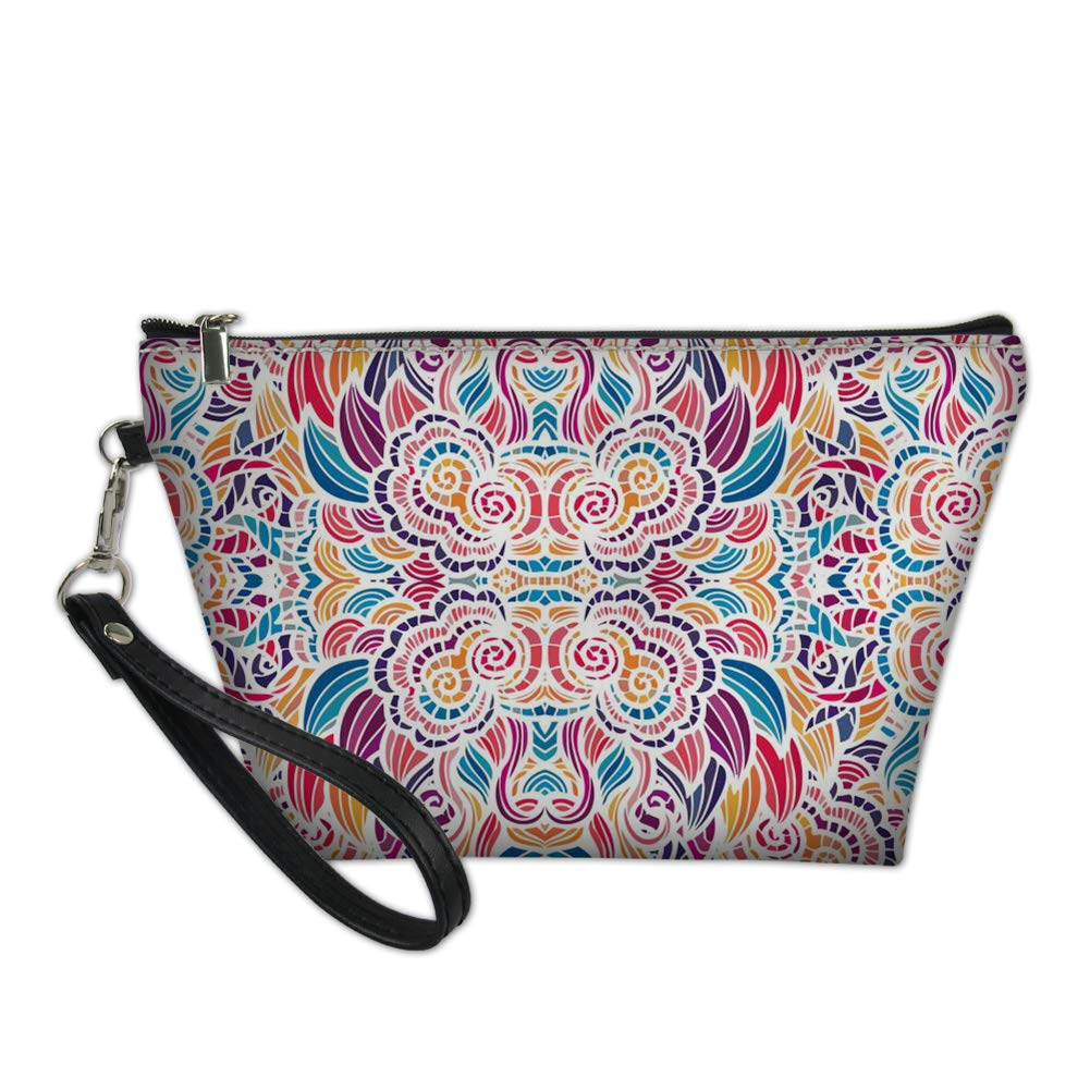 Freewander Waterproof Cosmetic Bags Portable Zipper Travel Bag Floral Print Toiletry Pouch Makeup Organizer PU Leather Clutch Bag