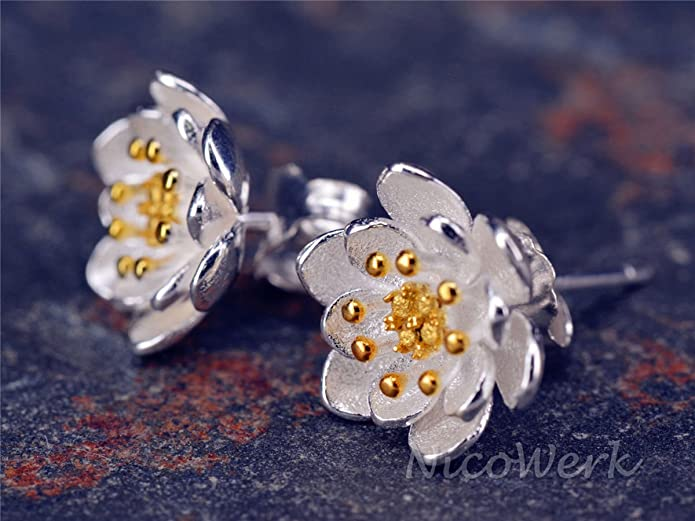 Silberohrstecker Ohrstecker 925er Sterling Silber Unisex Schmuck Ohrringe Blume