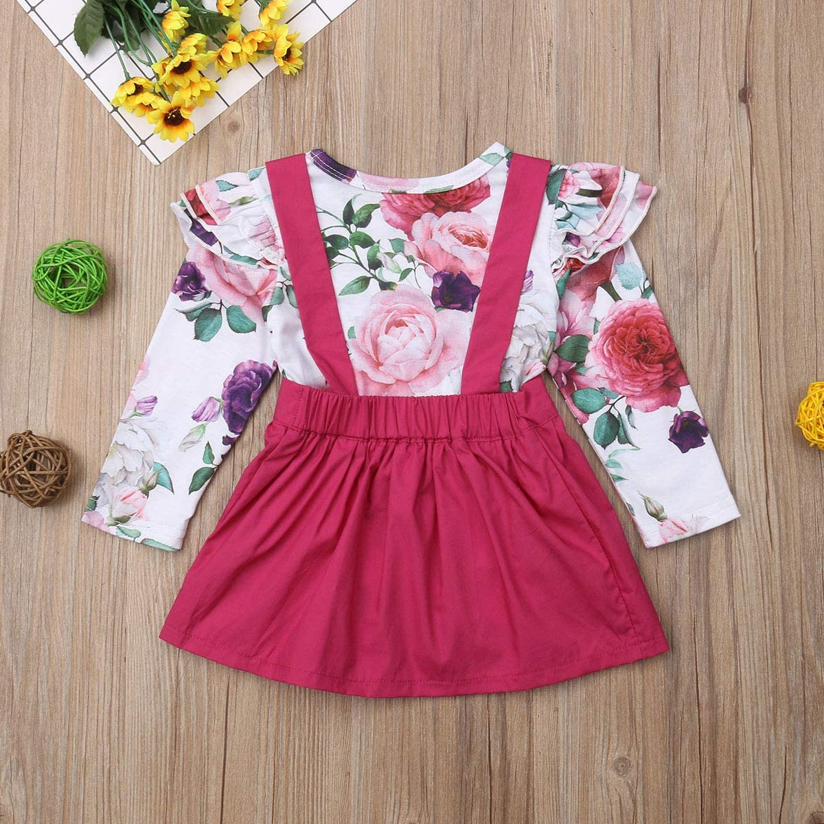 Newborn Baby Girls Ruffle Floral Romper Strap Skirt Dress Outfits Clothes Set
