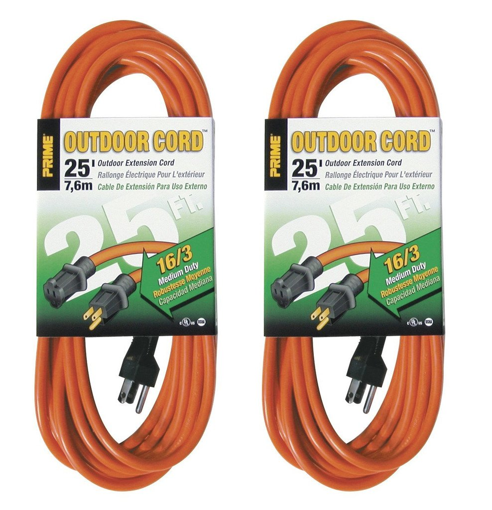 Prime Wire & Cable EC501625 25-Foot 16/3 SJTW Medium Duty Extension Cord, Orange, 2 Pack by Prime Wire & Cable