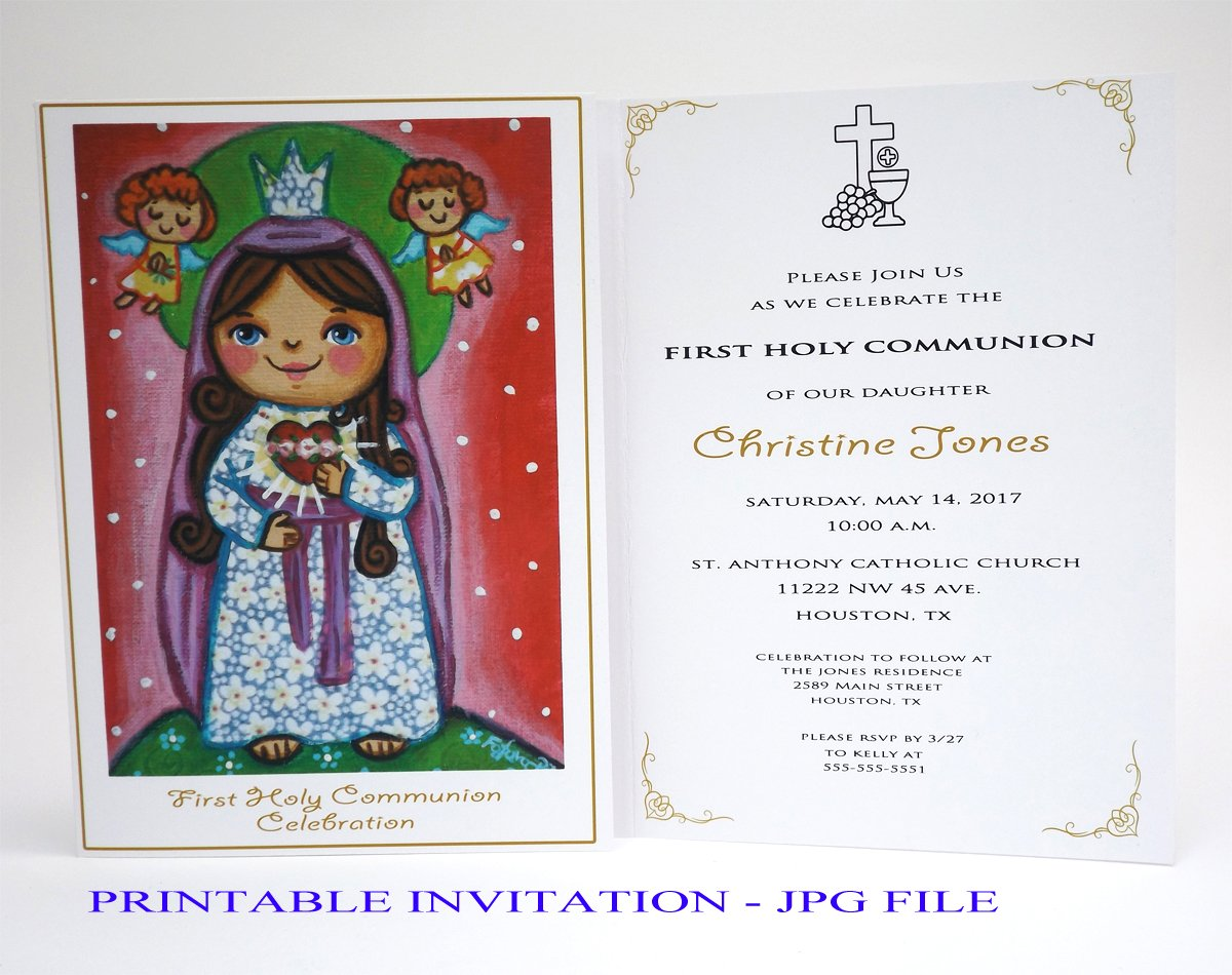 photograph about Printable First Communion Invitations named : Female initial communion invitation lady Sacred