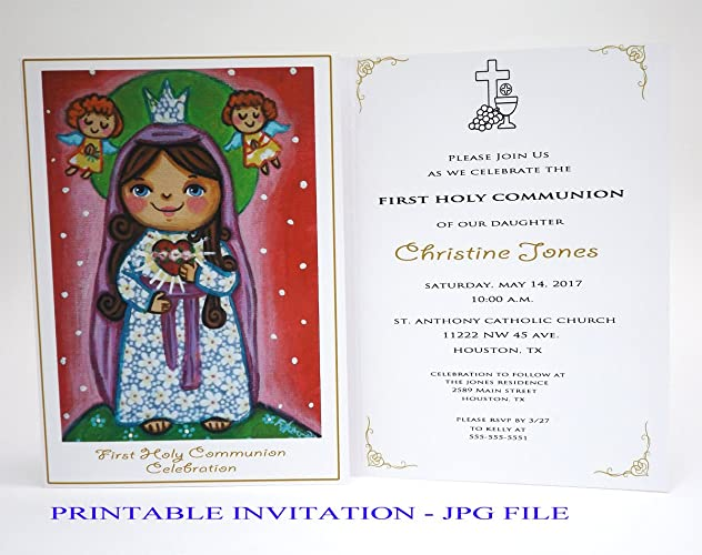 Girl first communion invitation girl Sacred Heart of Mary Boy first holy communion invitation boy Religious invitation First communion invites Spanish ...