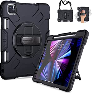 SUPFIVES iPad Pro 11 Case 2021 with Pencil Holder, Upgraded Military Grade Shockproof Protector Silicone Cover+ Handle+ Shoulder Strap+ Rotating Kickstand for iPad Pro 11 inch 3rd Gen 2020/2021, Black
