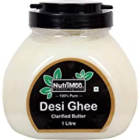NUTRIMOO 100% Pure & Natural Desi Ghee | Real Buffalo Milk Ghee | 100% Nutritious Unadulterated Ghee Made Using Traditional (Vedic) Bilona Method - 1 Litre Pack