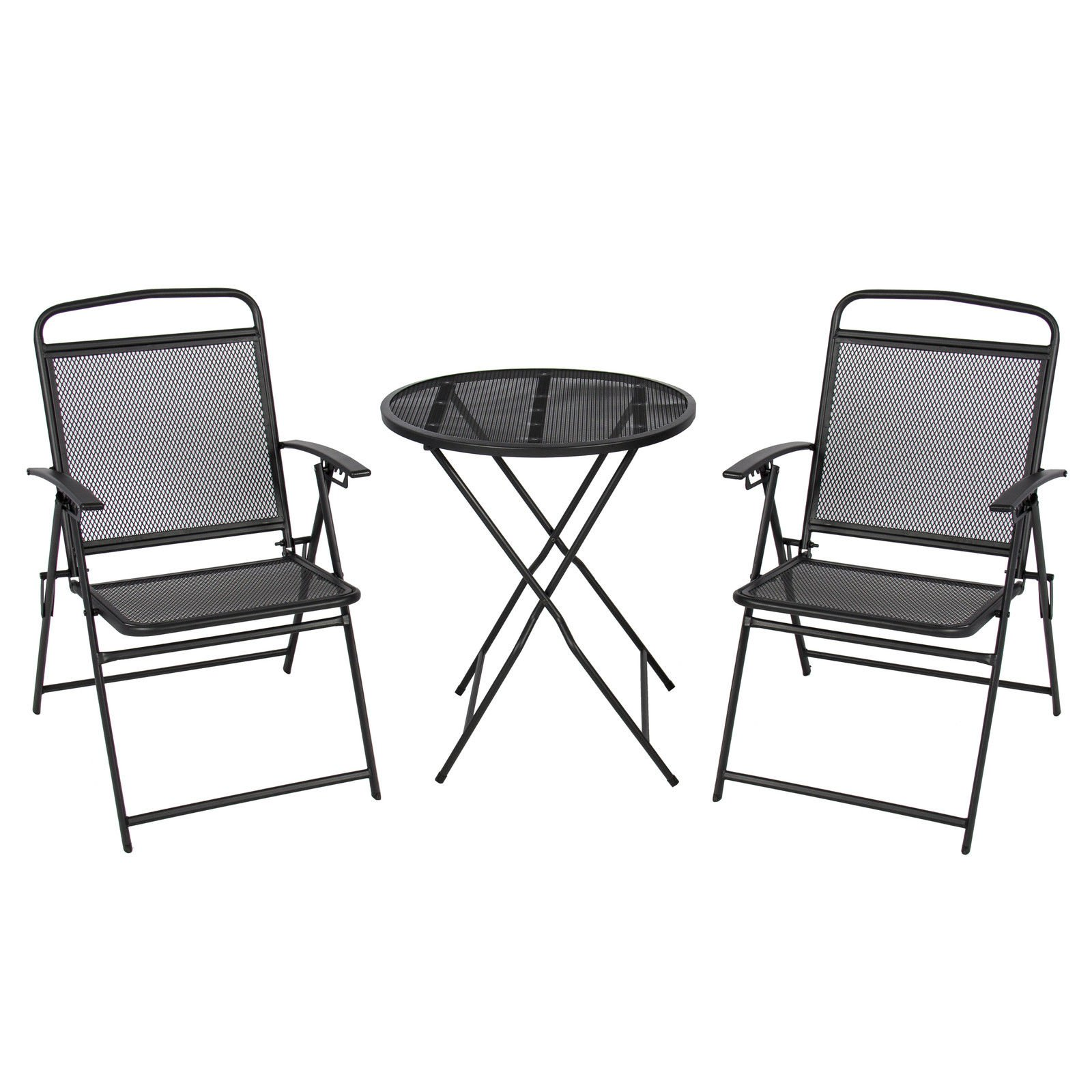 3 pc Patio Bistro Set Outdoor Table and Chairs Wrough Iron With Black Finish