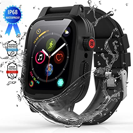 YOGRE Waterproof Case for Apple Watch Series 4 44mm, IP68 Waterproof Shockproof Impact Resistant Apple iWatch Full Body Protective Case with Built-in ...