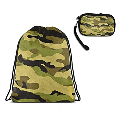 2901749027 Army Camouflage D Camo Print Drawstring Bag Sport Travel Rucksack,  Waterproof Shoulder Backpack Large Size