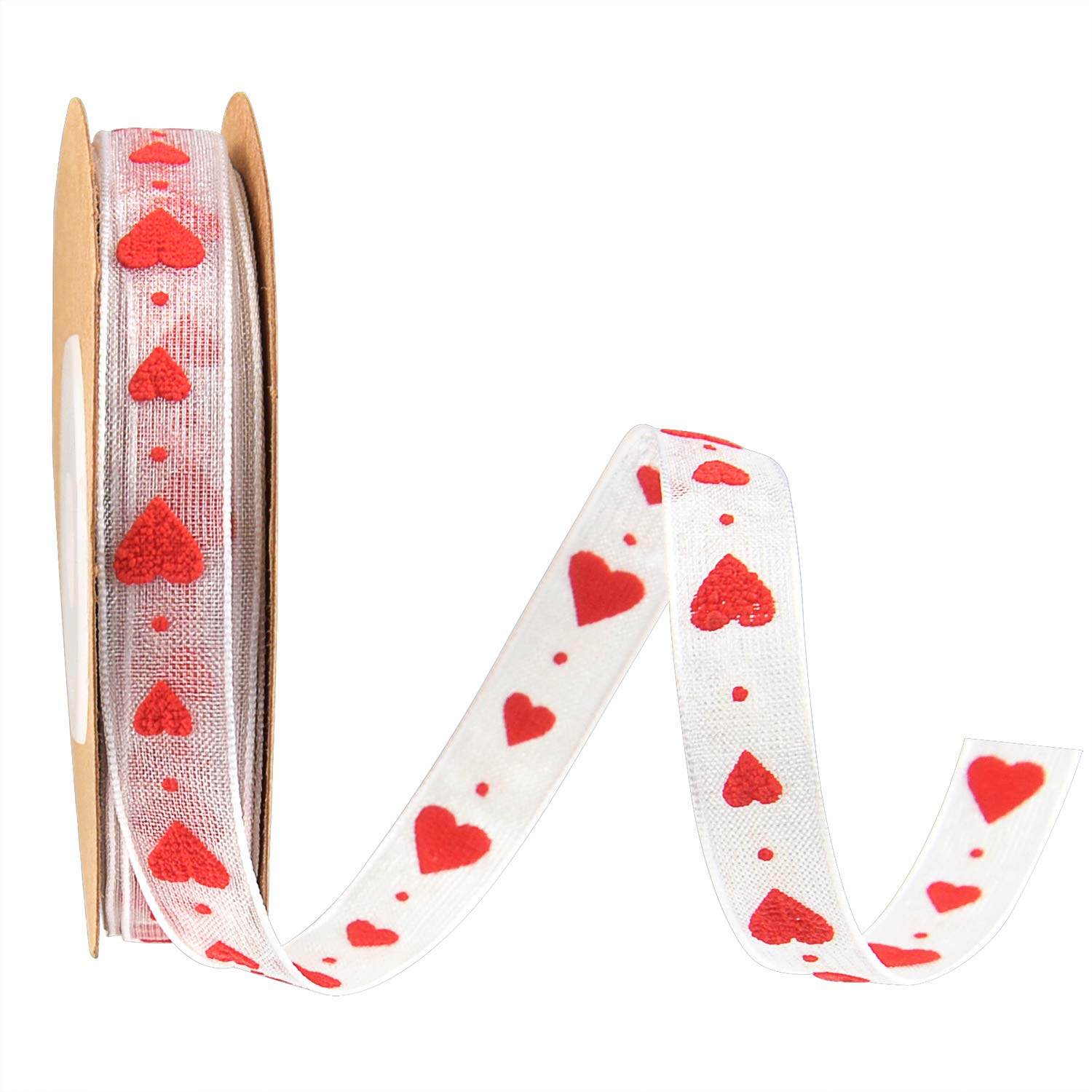 White Valentine's Heart Ribbon