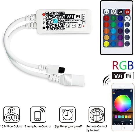 Mini Rgb Wifi Controller Fur Led Strip Streifen Kompatibel Mit Google Home Ifttt Und Siri Ir Fernbedienung Steuerung 16 Mio Farben 20 Dynamische