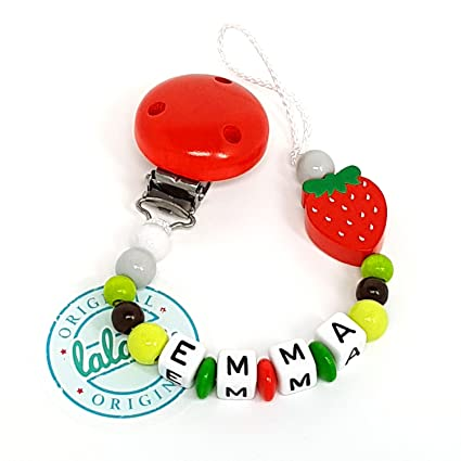 Baby regalo cadena para chupete con nombres Fresa Diseño ...