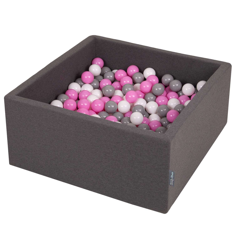 KiddyMoon B/ällebad Baby Spielbad Mit Bunten B/ällen /∅ 7Cm Quadrat Made In EU Dunkelgrau Grau//Wei/ß//T/ürkis,90X40cm//KEINE B/älle