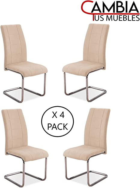 CAMBIA TUS MUEBLES - Pack de 4 sillas Comedor YATRA tapizadas en ...