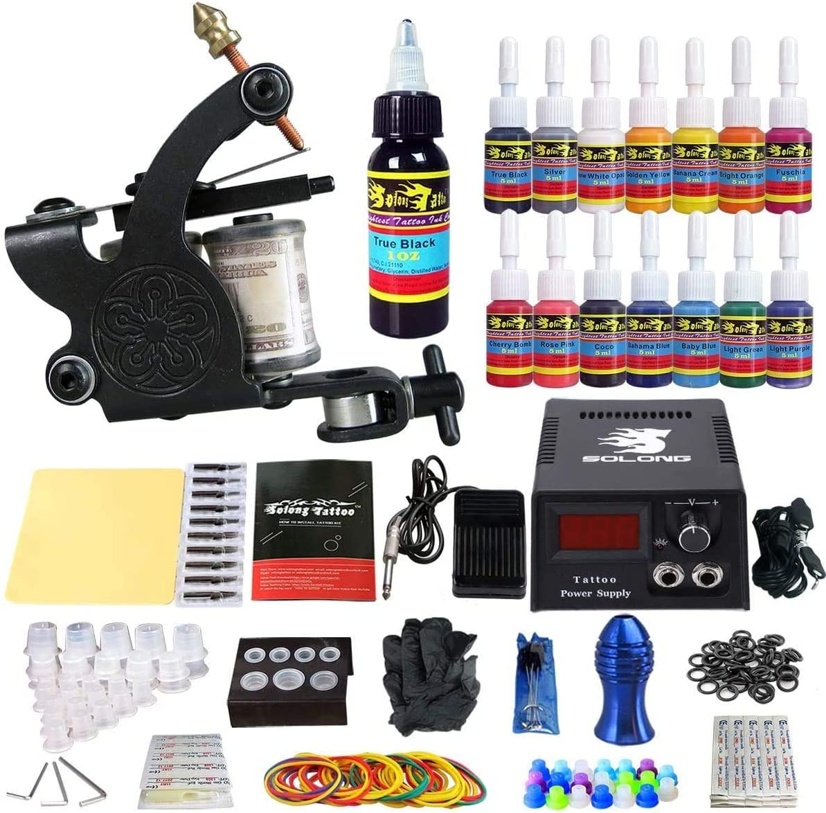 Solong Tattoo Complete Starter Tattoo Kit 1 Pro Machine Guns 14 Inks Power  Supply Foot Pedal Needles Grips Tips TK102: Amazon.in: Health & Personal  Care