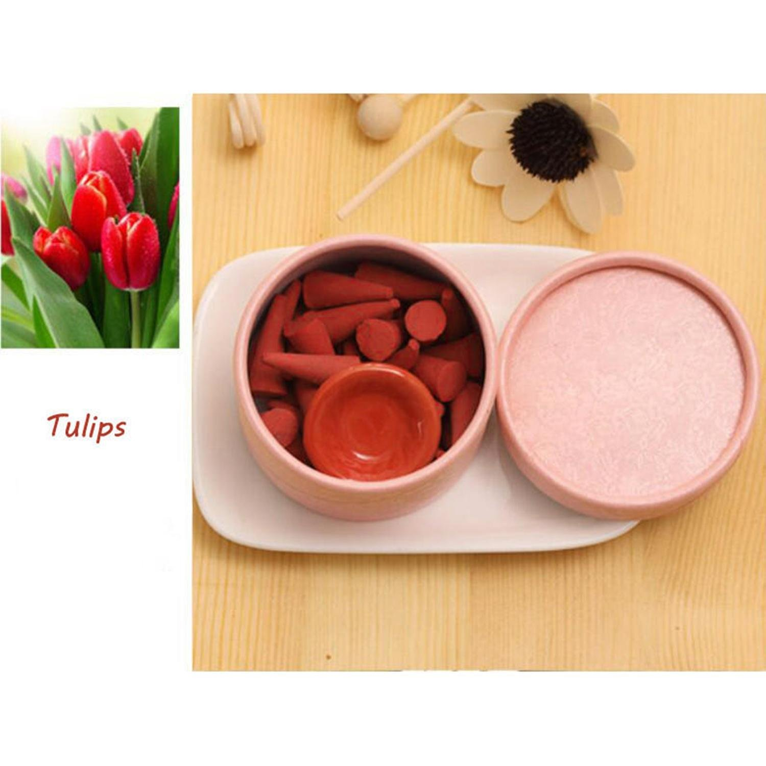 GuGio 1 Box Backflow Incense Cones for Backflow Incense Burner Holder with Spice Tray (Tulips)