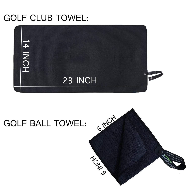 KinHwa Juego de toallas de golf de microfibra de 14 x 29 pulgadas, 1 pieza con gancho para colgar y toalla compacta de pelota de golf de bolsillo sin ...