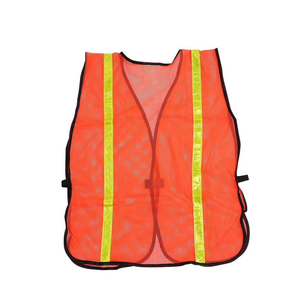 High Visibility Safety Vests 10 Packs,Adjustable Size,Lightweight Mesh Fabric, Wholesale Reflective Vest for Outdoor Works, Cycling, Jogging, Walking,Sports - Fits for Men and Women (Neon Orange) by zojo (Image #4)