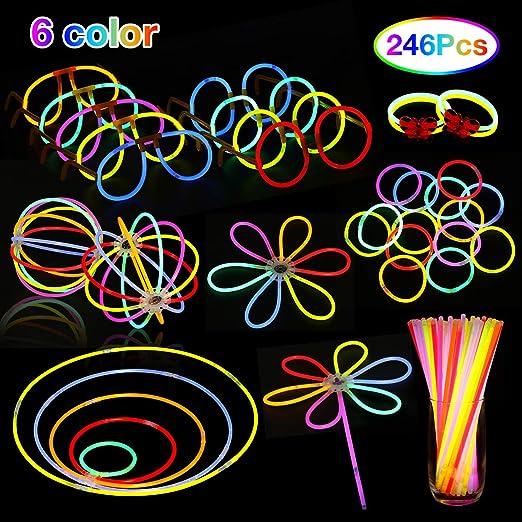 NASUM Pulseras/Barras Luminosas 100pcs de Fiesta, 6 Colores ...