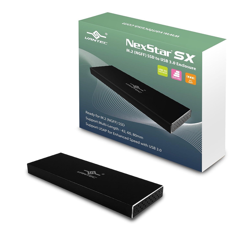 Vantec NexStar SX M.2 SSD to USB 3.0 Enclosure, Black (NST-M2STS3-BK) Vantec USA