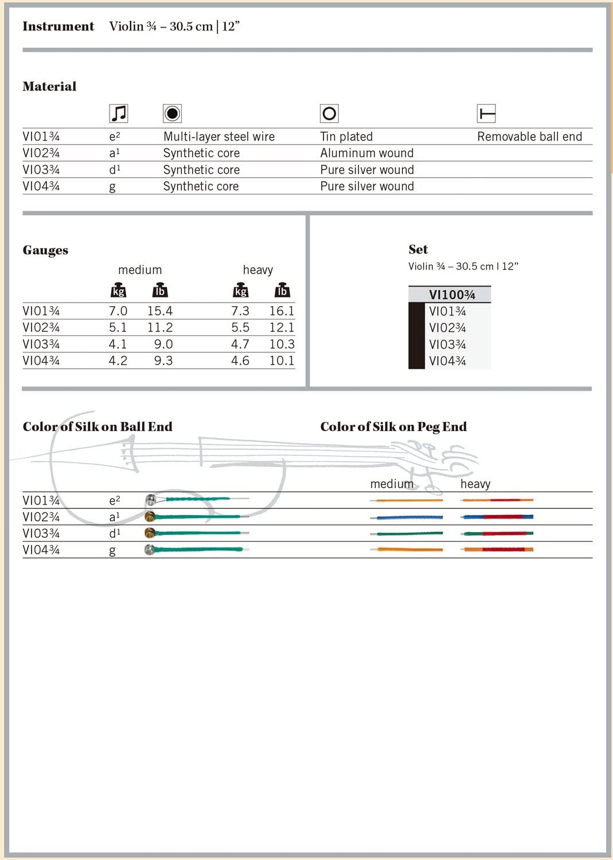 Tin Plated Carbon Steel 3//4 Size Thomastik-Infeld VI01.34 Vision Violin String Single E String