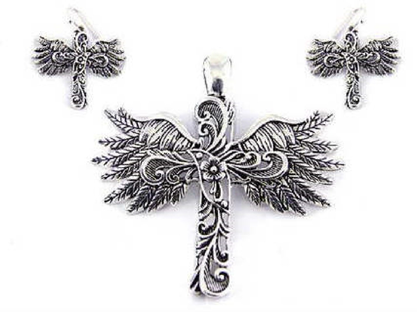 Easter Gift, Filigree Cross & Wings with Large Clasp Pendant Enhancer & Matching Earring Set by My Prime Gifts