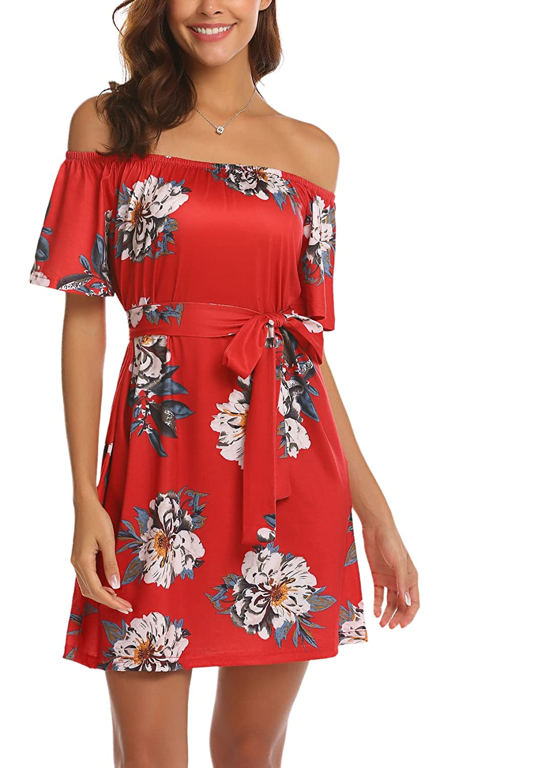 fcf6496e314df Features: vintage floral print/ sexy off shoulder strapless/ slash neck/  flare sleeve/ lace up wasit/ above knee short dress.