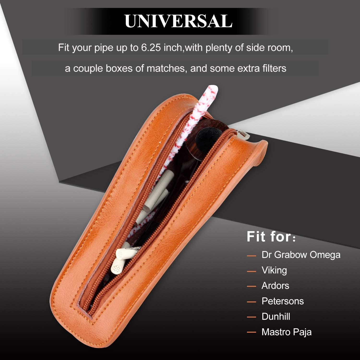Portable Geninue Leather Single Holder Pouch Bag Tobacco Pipe Case for Smoking Pipe Brown