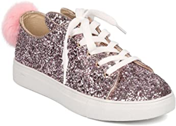 Wild Diva Women Glitter Lace Up Bunny Ear and Tail Sneaker GF98